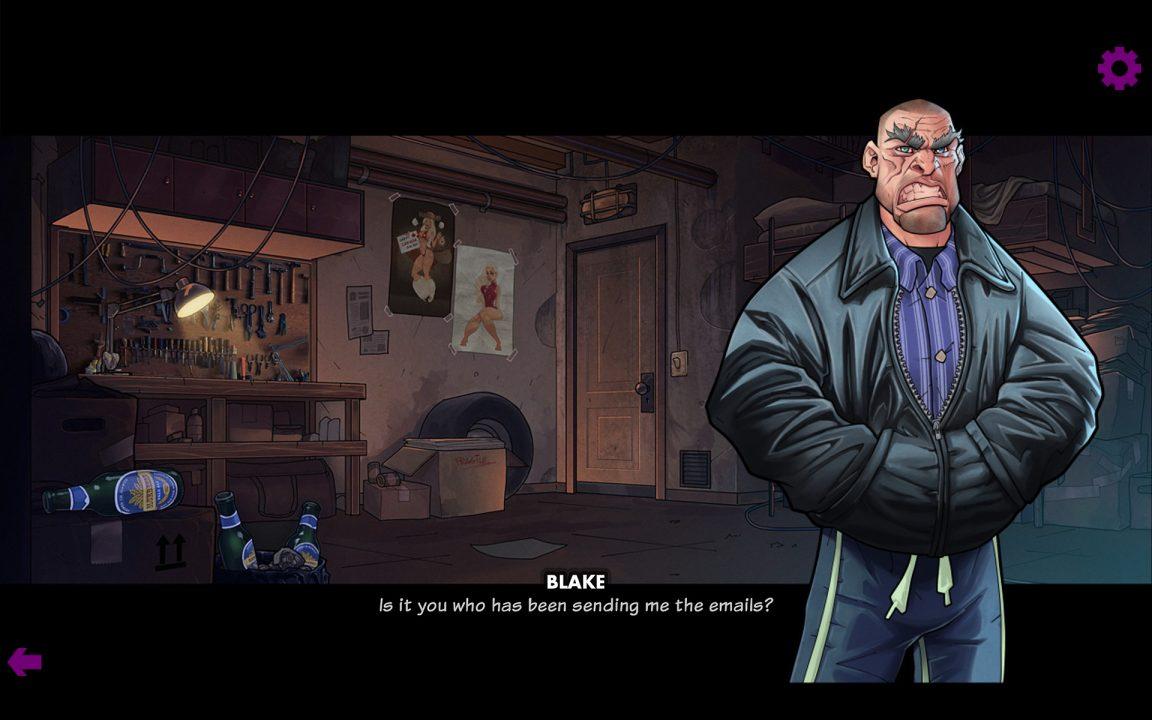 Dialogue in Blake: The Visual Novel. A man wearing a black jacket stares at you.