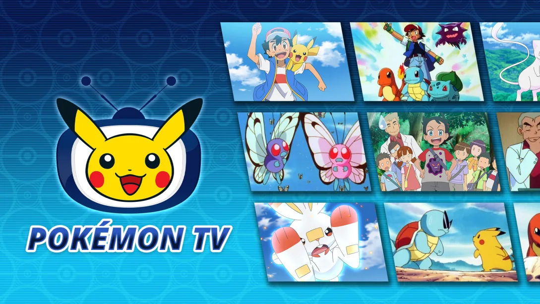 Pokemon TV App Hero Image showing logo and screens from the anime