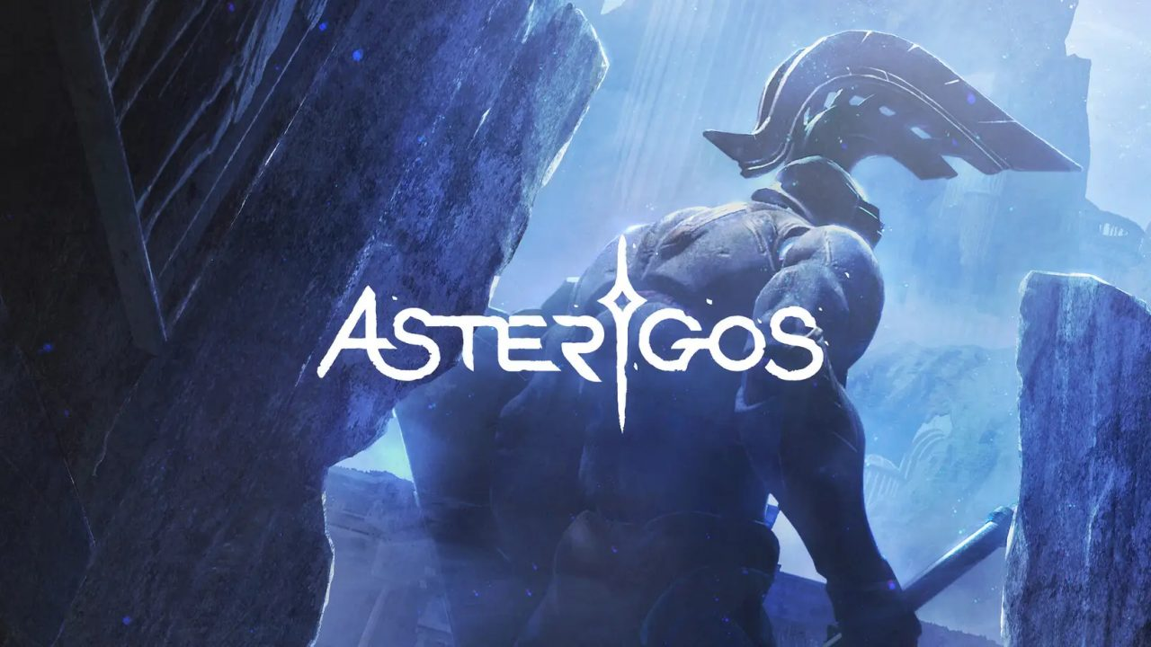 A warrior wearing a large helmet and weilding a weapon faces away with the Asterigos logo in the foreground.