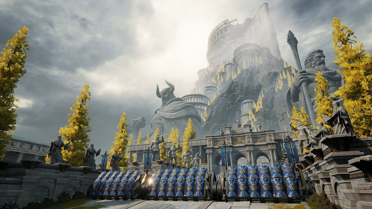 A large building with many pillars on top of a mountain with large humanoid status at the mountain's base.