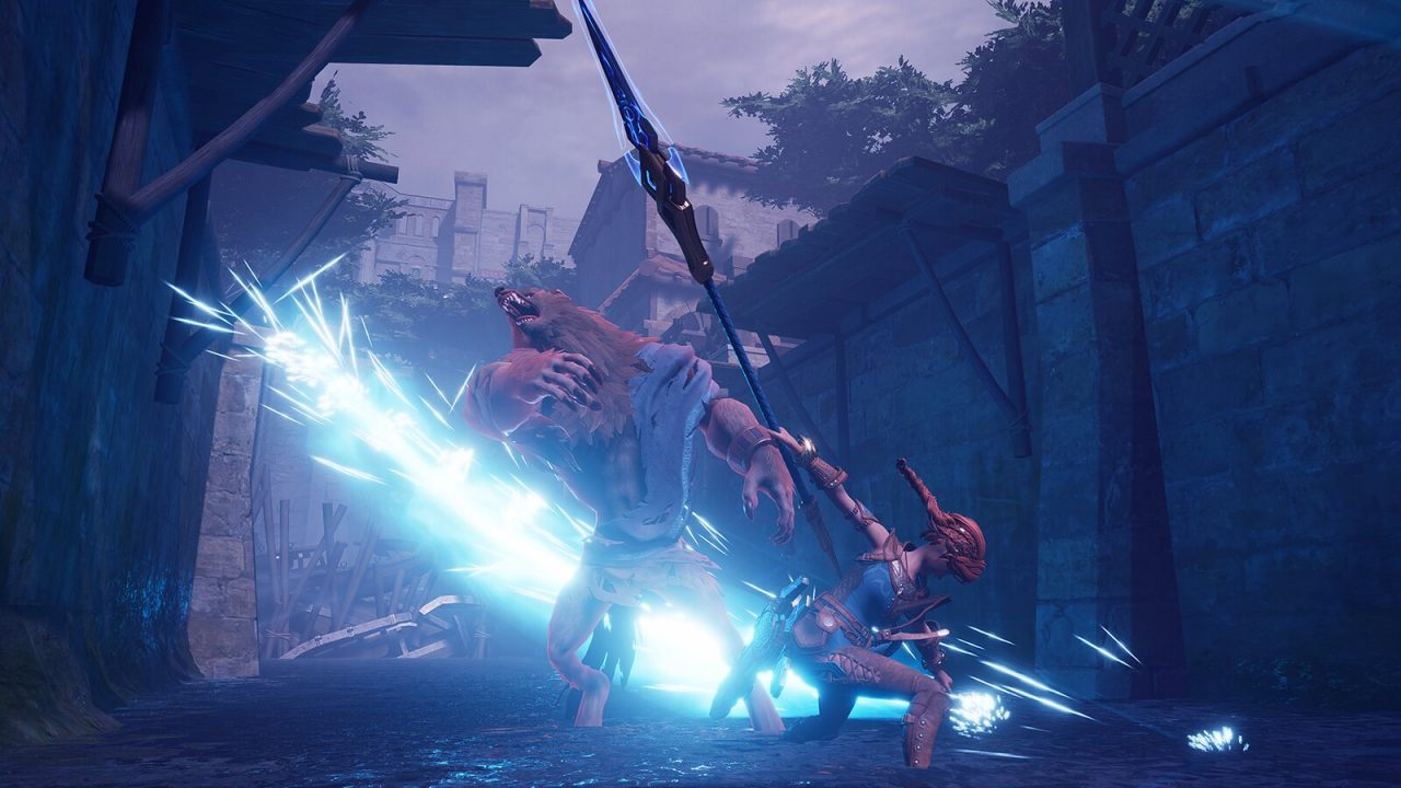 Hilda, a warrior wearing blue, attacks a werewolf with a special ability