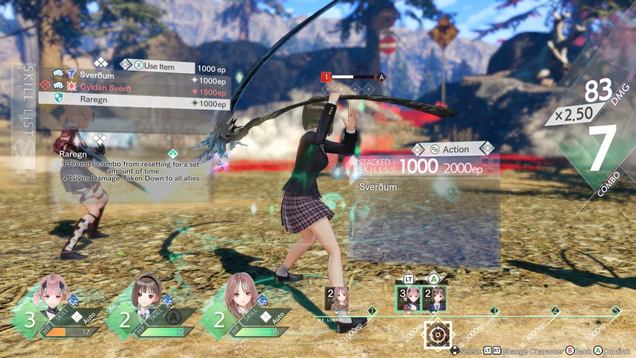 Blue Reflection: Second Light protagonist Ao Hoshizaki fights in battle.