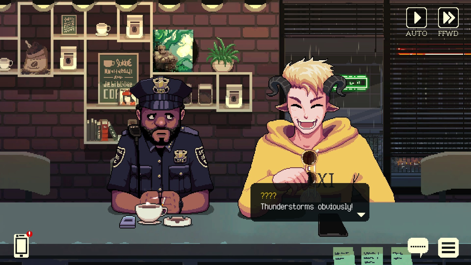 A police officer and horned man discuss thunderstorms in a coffee shop.