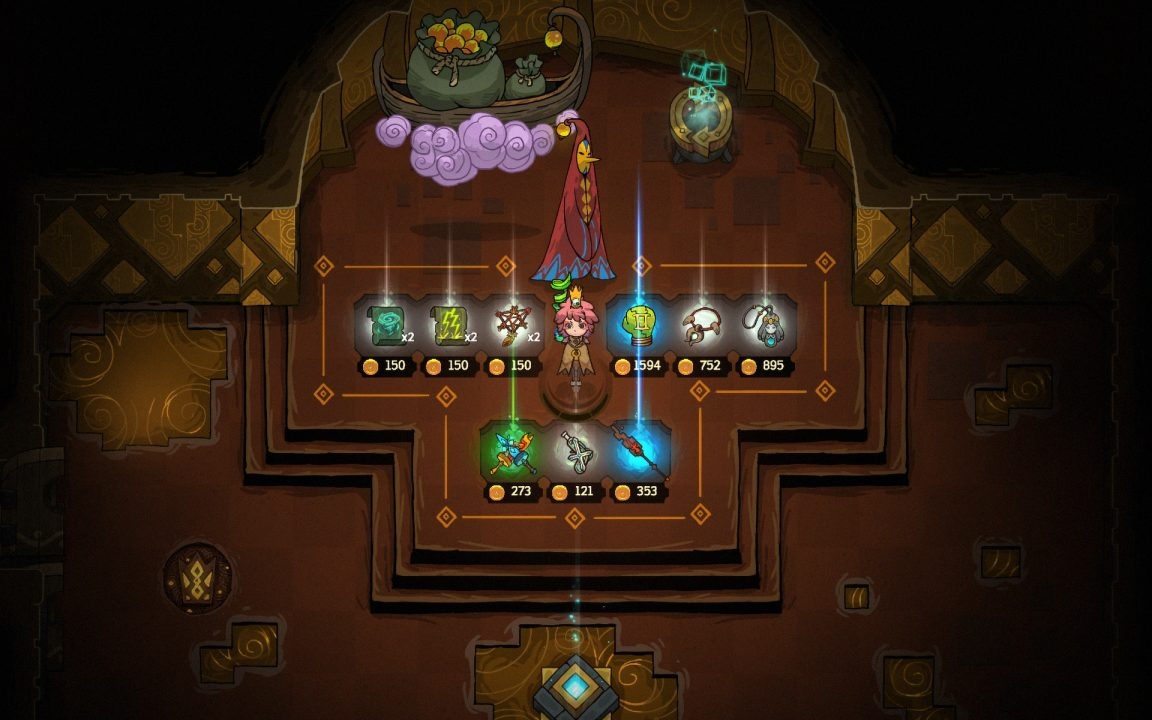 Choosing items for purchase from the shopkeeper in Crown Trick. The shopkeeper wears a red robe, and stands infront of a boat floating on a purple cloud.