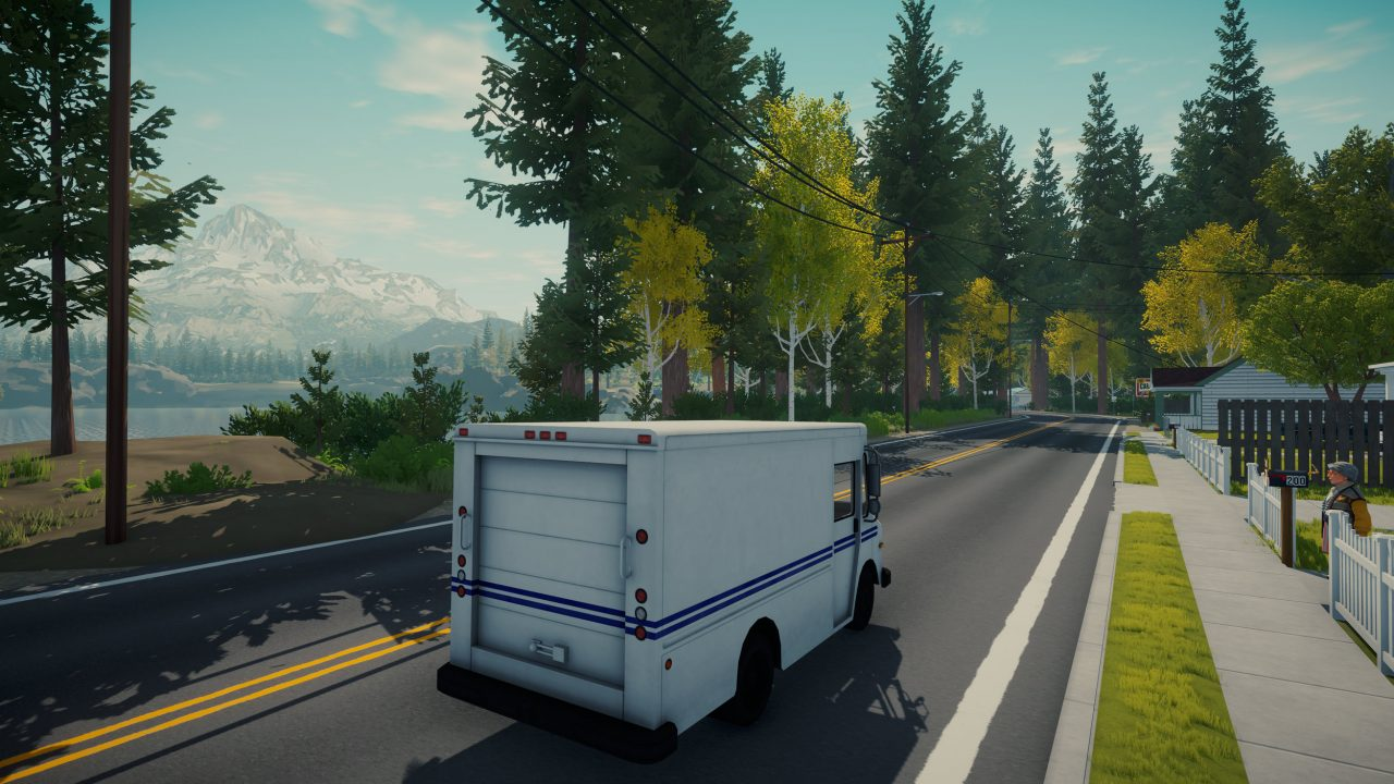 Lake screenshot of a mail truck driving down a road alongside a lake and snow-capped mountains.