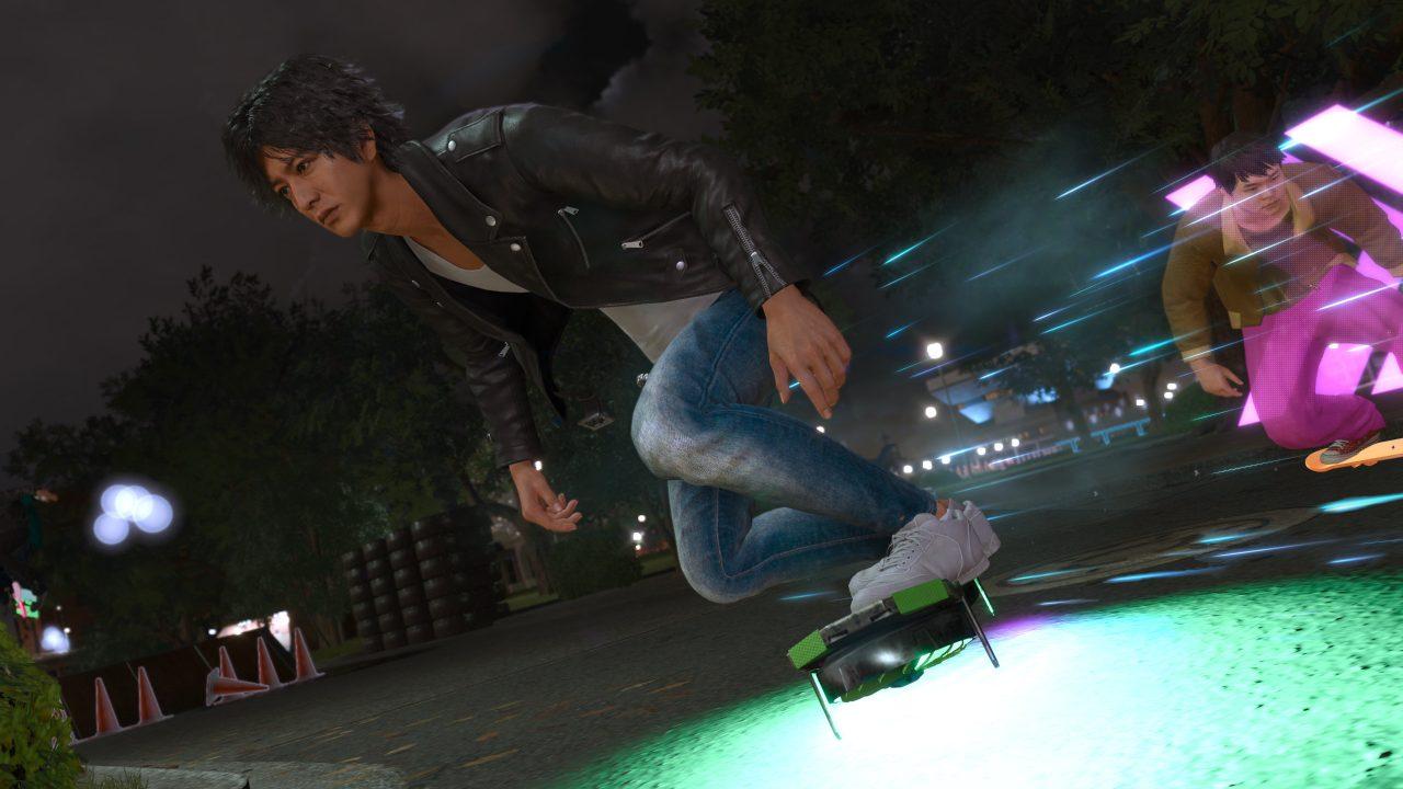 Lost Judgment screenshot of Yagami racing on a skateboard.