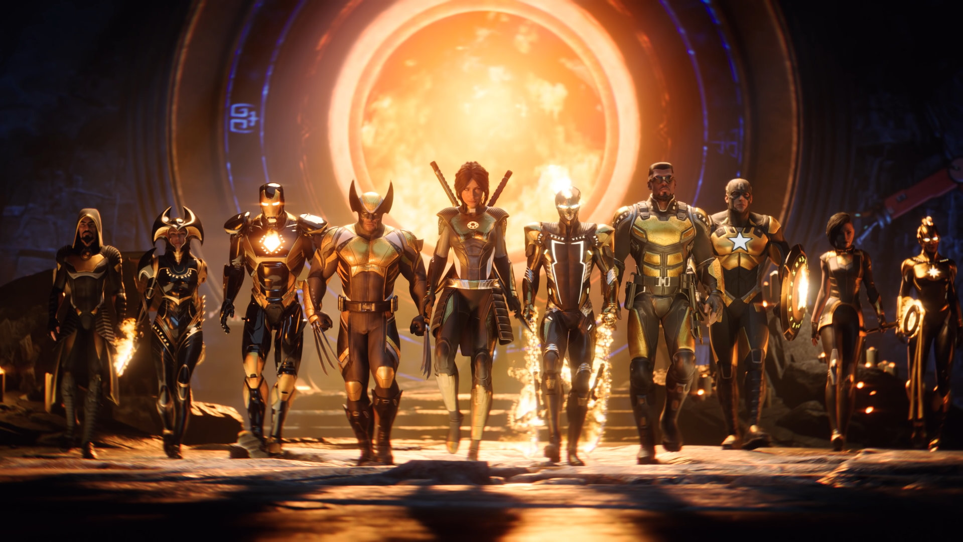 Super heroes in line in Marvel's Midnight Suns