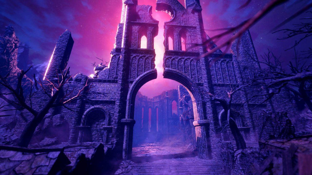 A screenshot of a broken arch, lit in glowing purple light.