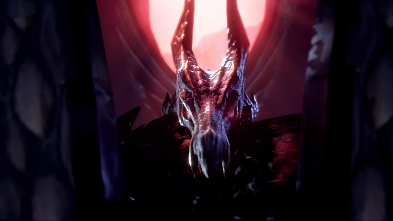 A screenshot of a crimson-eyed dragon with black scales, wings expanded.