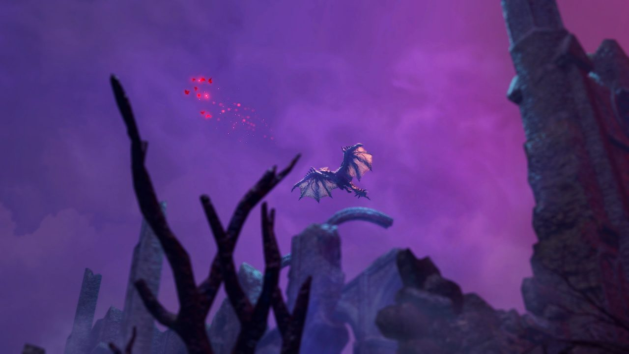 A screenshot of a dragon seen far off above, surrounded by purple clouds.