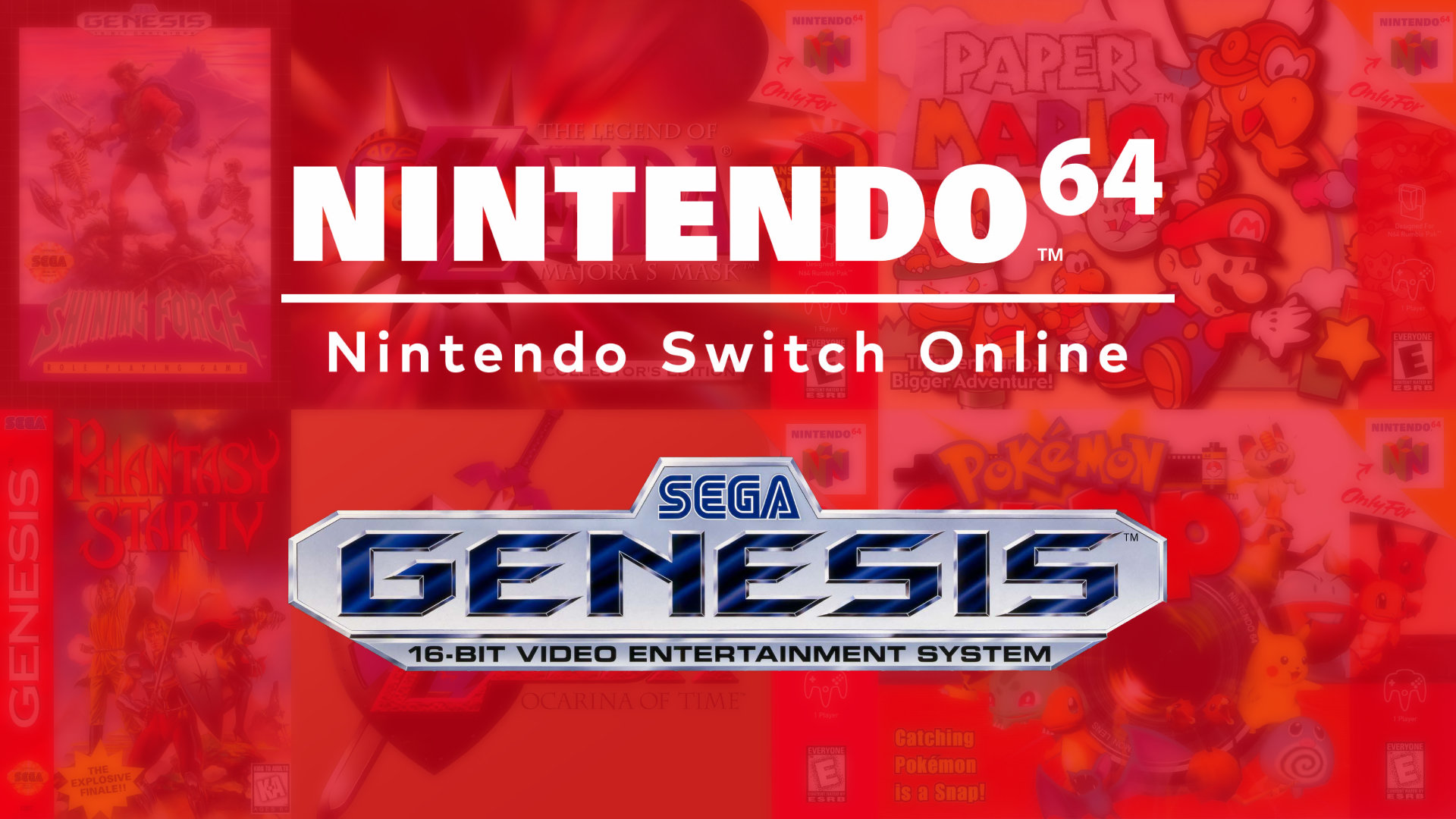 Nintendo Switch Online Expansion Pack artwork with Nintendo 64 and Sega Genesis logo over faded box art collage.