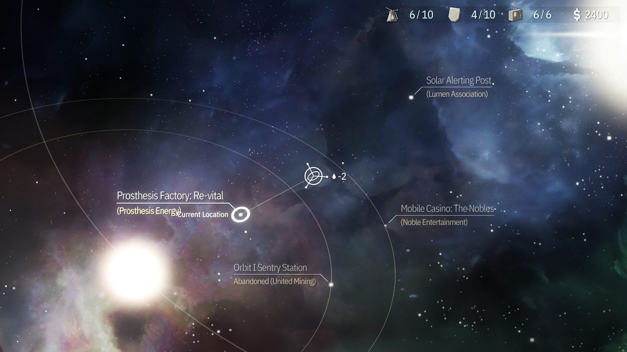 Navigation map screen for OPUS: Echo of Starsong.