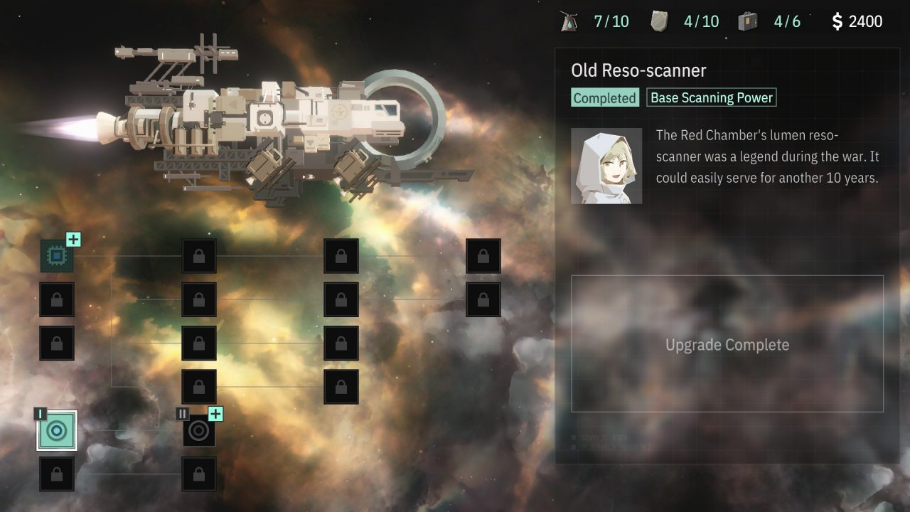 The ship upgrade screen displaying an Old Reso-scanner.
