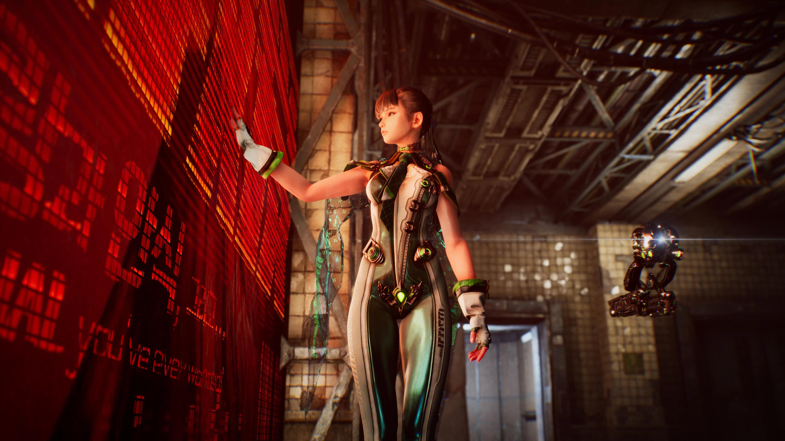 Project Eve Screenshot of a young female trooper in a high tech latex suit standing in a grungy warehouse, placing her hand into a wall of glowing glyphs and symbols.