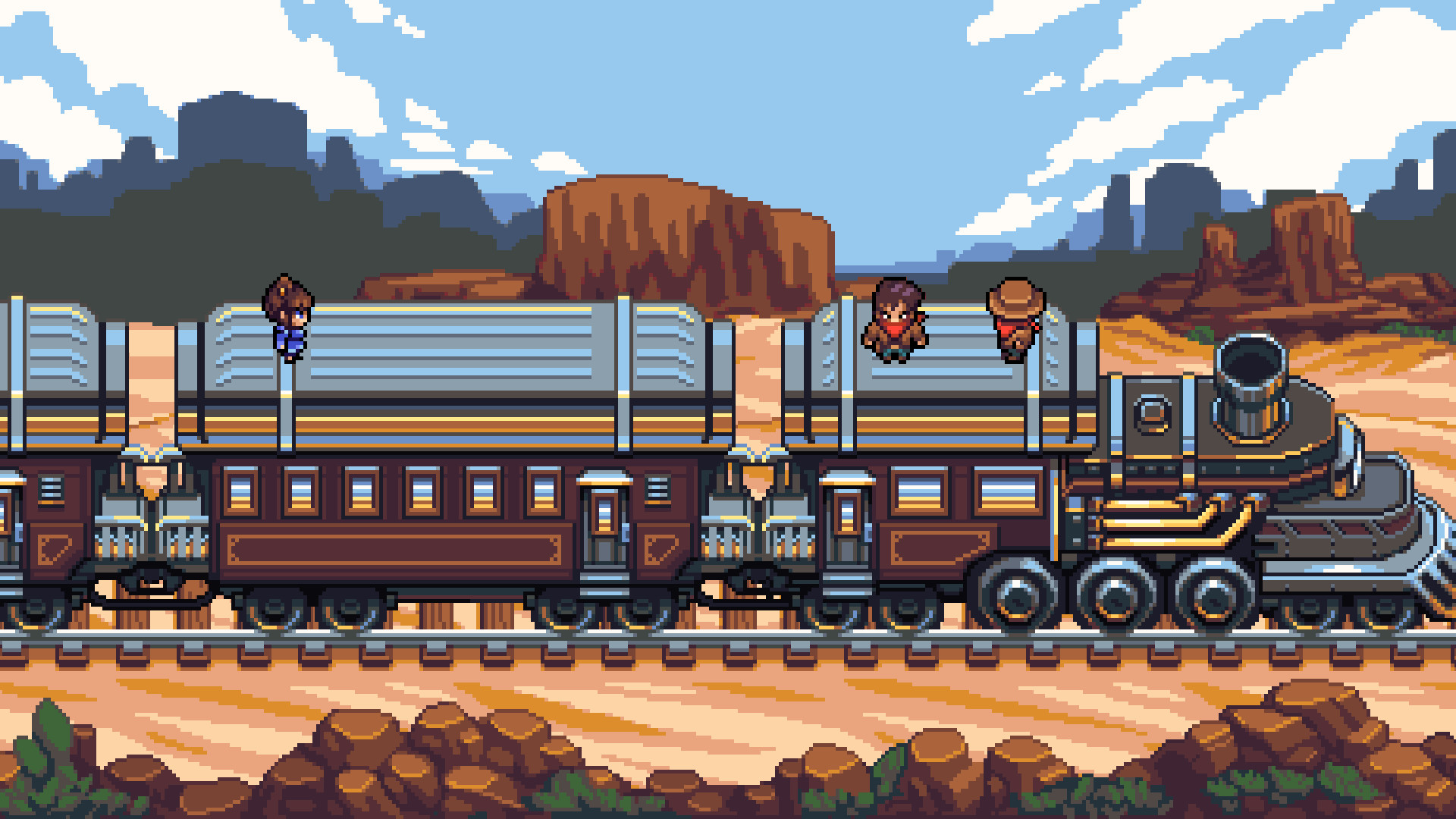 Pixel art Quartet screenshot showing characters on top of an Old West-style train.