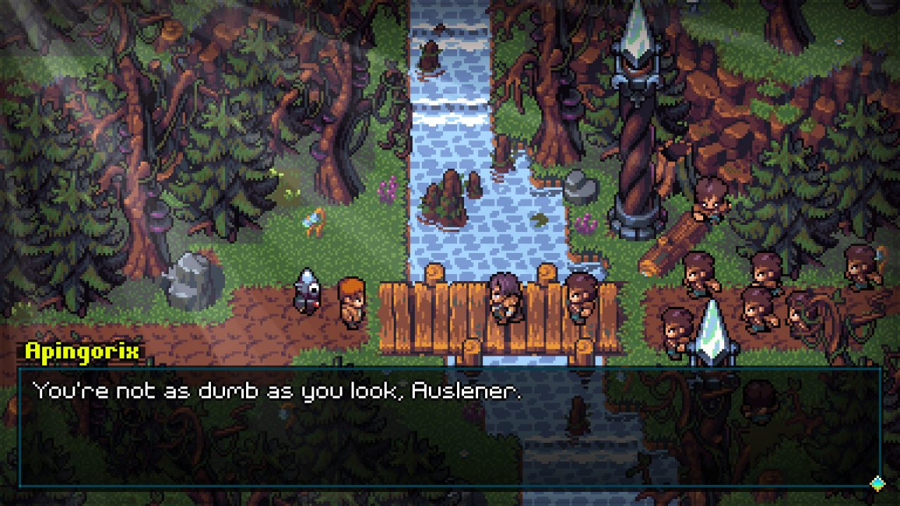 Pixel art scene in Quartet of a confrontation in a forest, with a river running down the center.