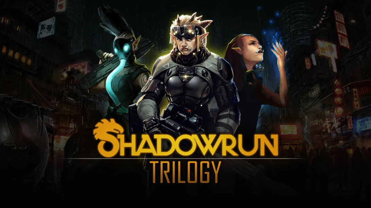 Shadowrun Trilogy Artwork of an elf-orc-like character in tactical armor, a woman with a rat companion, and a tattooed woman with a mohawk, glowing gas mask, and assault rifle.