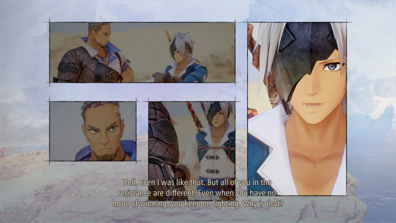 """A conversation between a scarred man and a masked man takes place across four manga-like panels from Tales of Arise. Dialog reads """"Hell, even I was like that. But all of you in the resistance are different. Even when you have no hope of winning, you keep on fighting. Why is that?"""""""