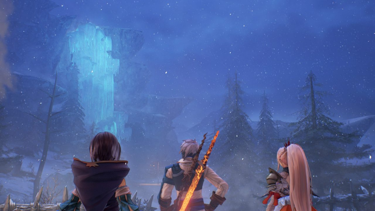 Two women and a man look out on a snow-covered landscape of coniferous trees and frozen waterfalls in Tales of Arise.