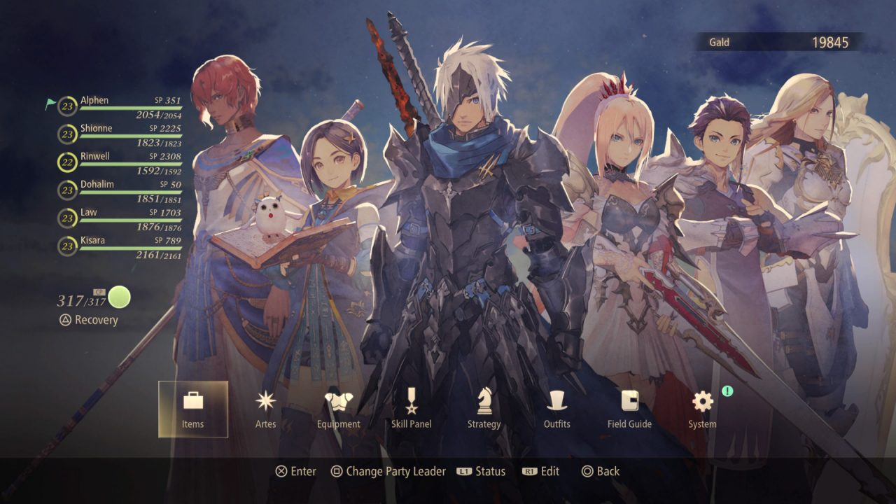 Displays the in-game menu from Tales of Arise and art of six party members. The level, HP and SP are displayed for each of the six, as well as the parties CP. Options include Items, Artes, Equipment, Skill Panel, Strategy, Outfits, Field Guide and System.