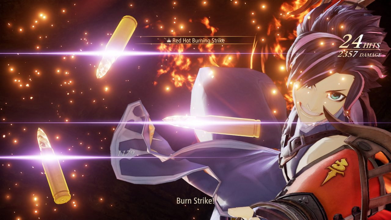 """A close-up of a man in front of flames, bullets floating before him. He is activating an ability titled """"Red Hot Burning Strike""""."""