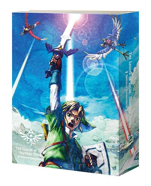 The Legend of Zelda: Skyward Sword Soundtrack Regular Edition Box depicting Link holding up a sword against a blue sky and clouds.