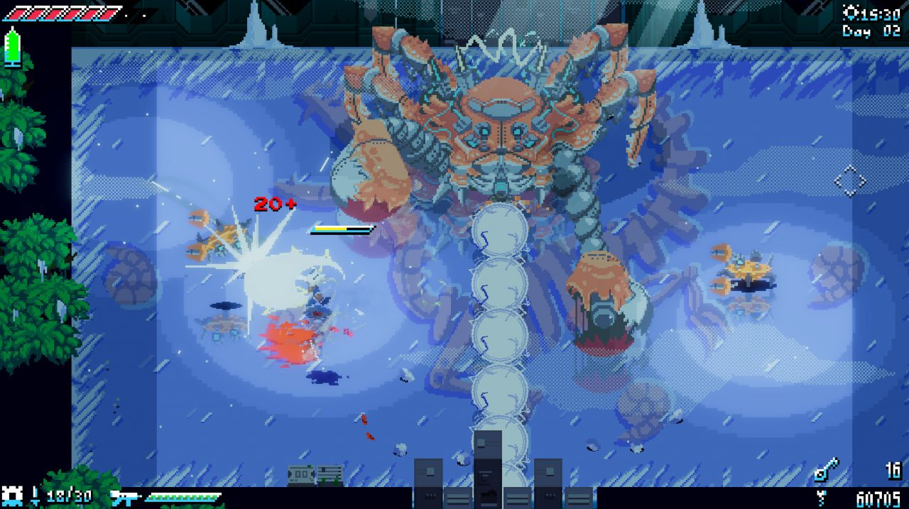 An intuitive fighting experience in UNSIGHTED against a giant robot crab.