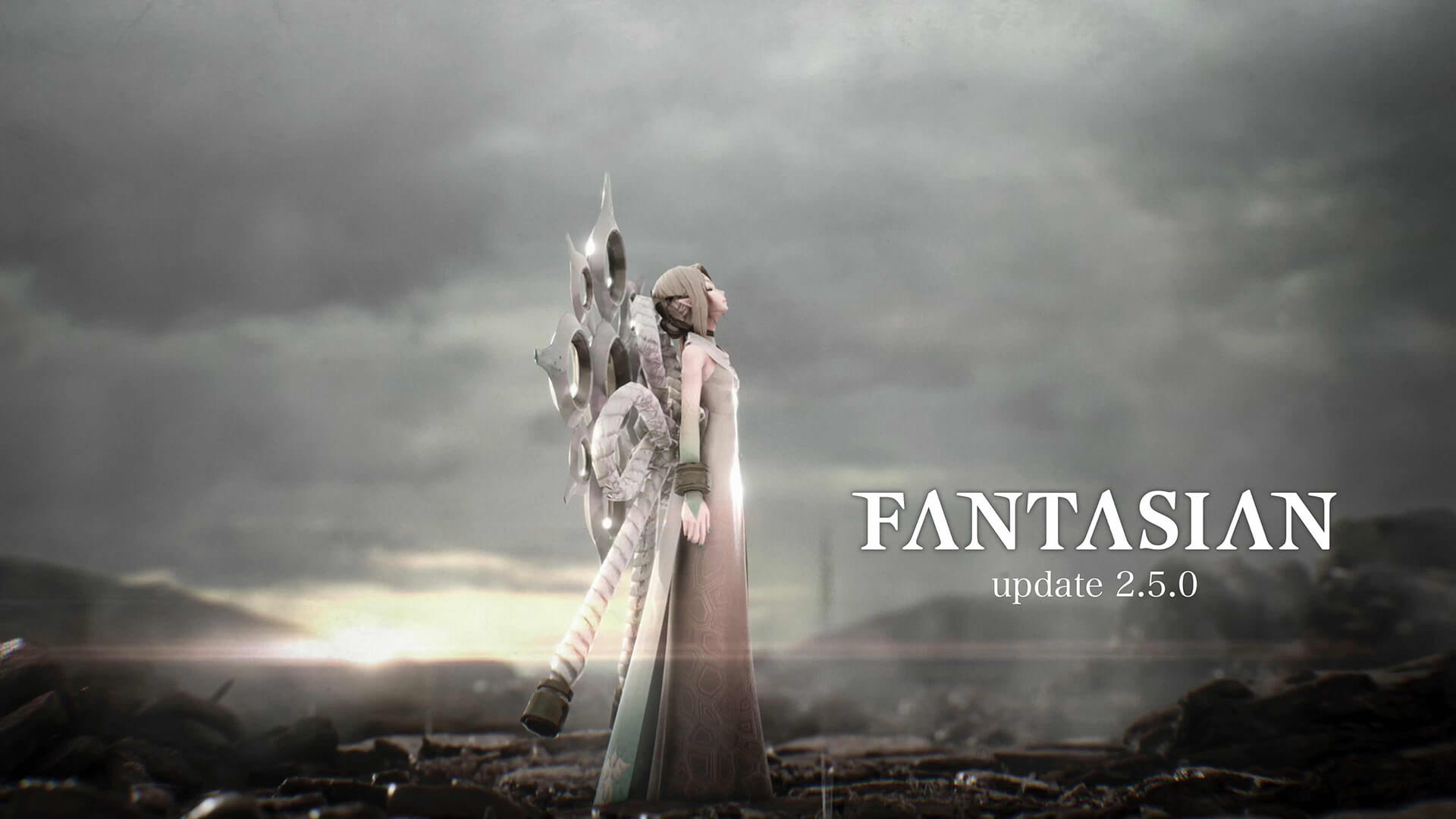 An image of Yim against a cloudy dark backdrop announcing Fantasian's 2.5.0 update