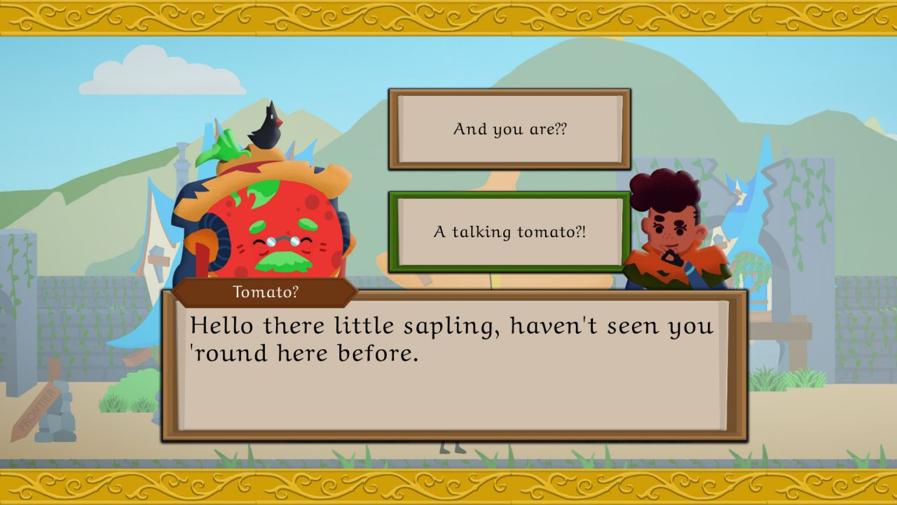 Chatting with a tomato villager in Frontier Quest.