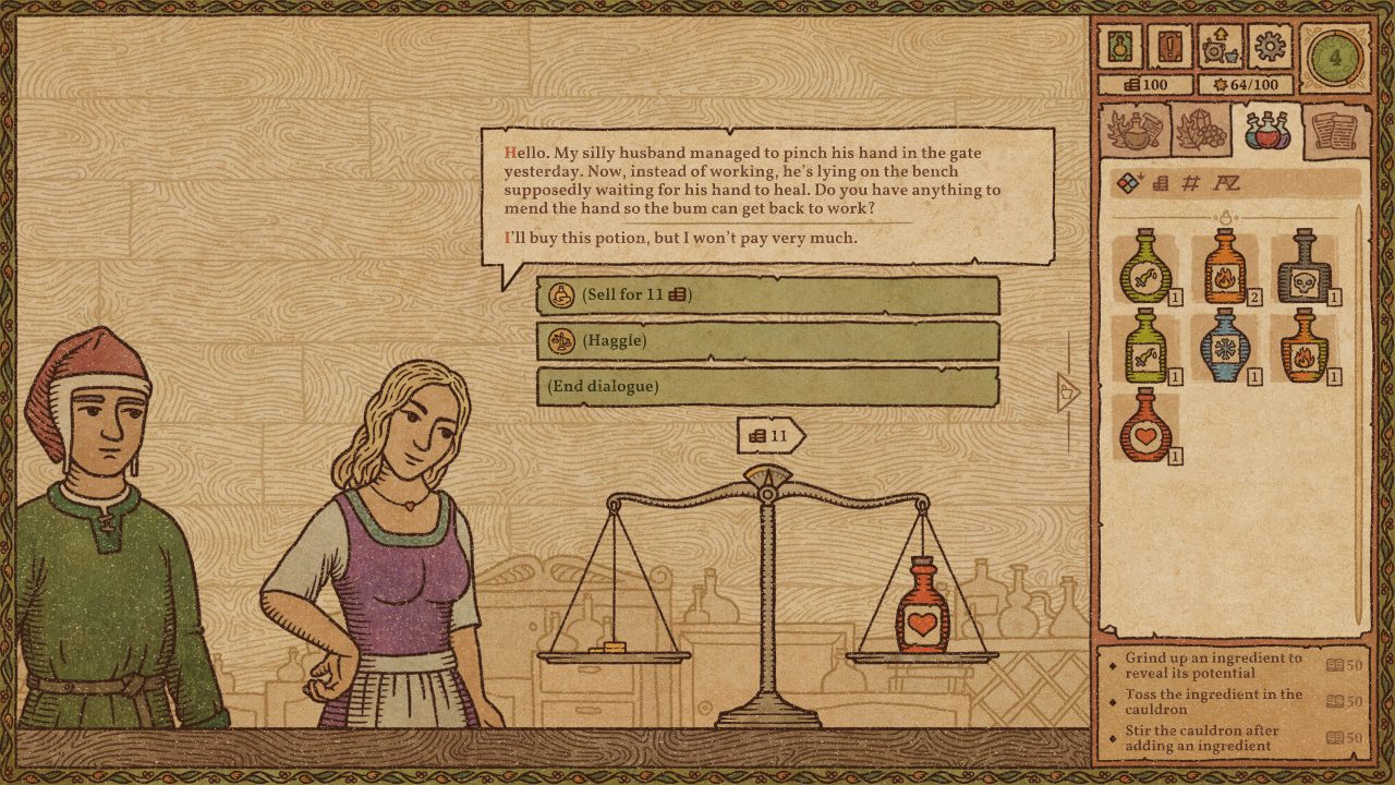 A doubtful wife in Potion Craft.