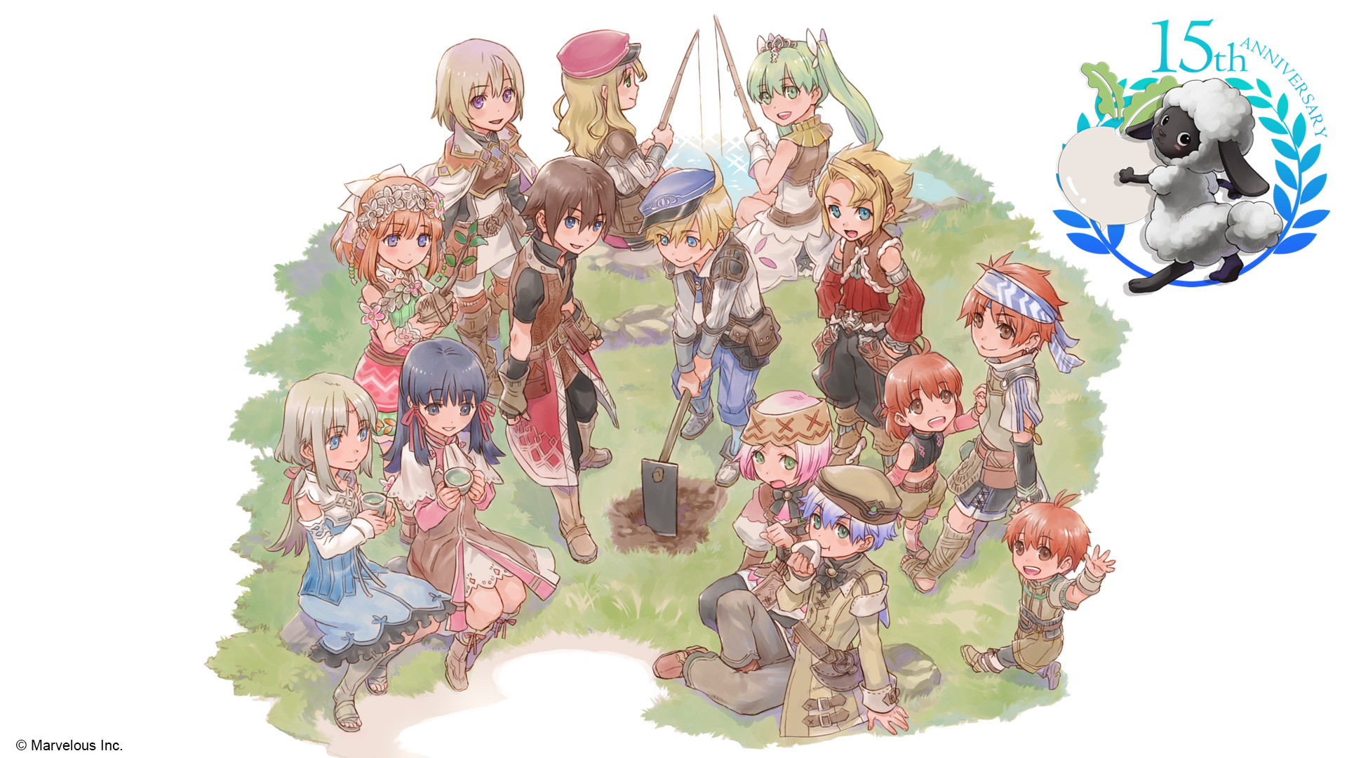 Key art of the Rune Factory characters assembled on a green field with the 15th Anniversary logo in the corner.