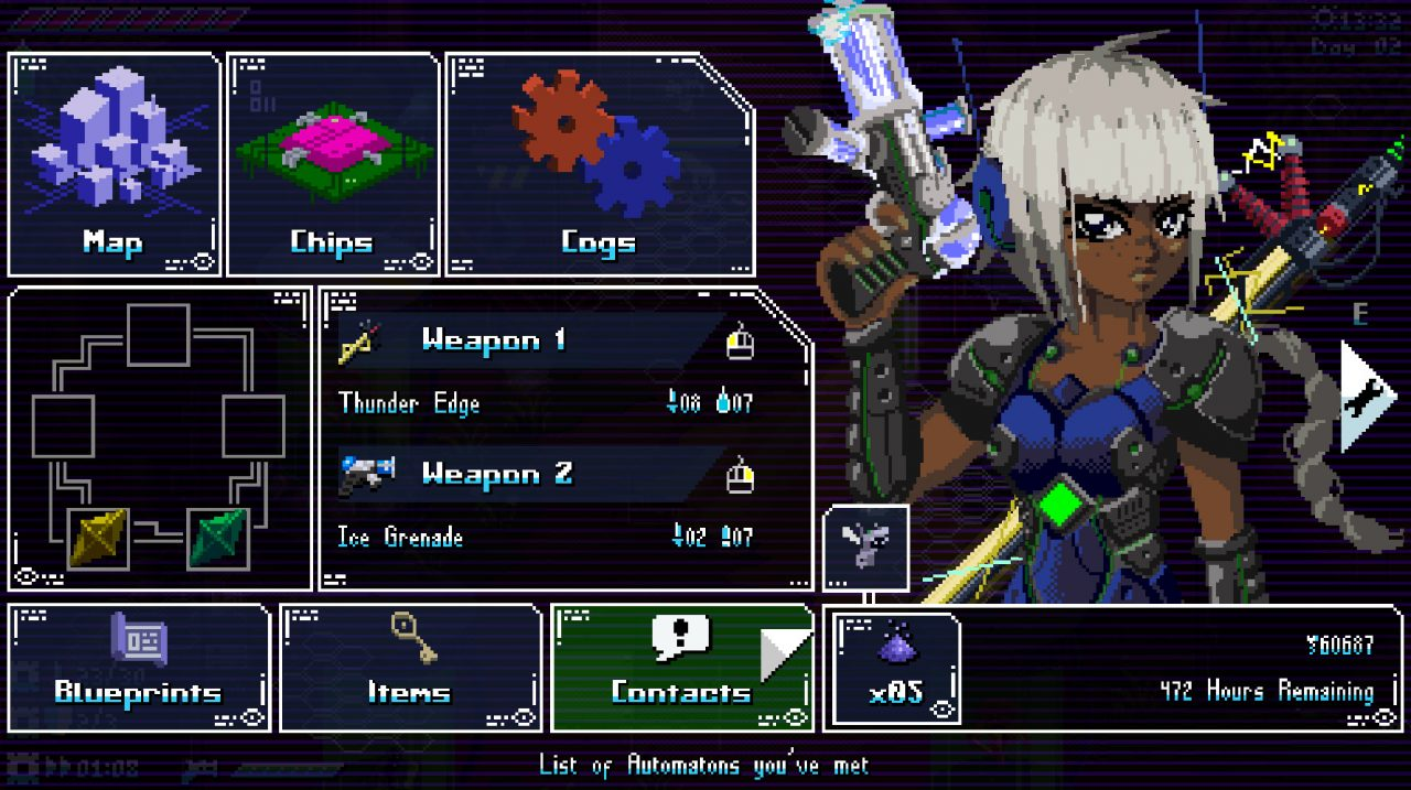 A main menu filled with crunchy RPG and action elements in Unsighted.