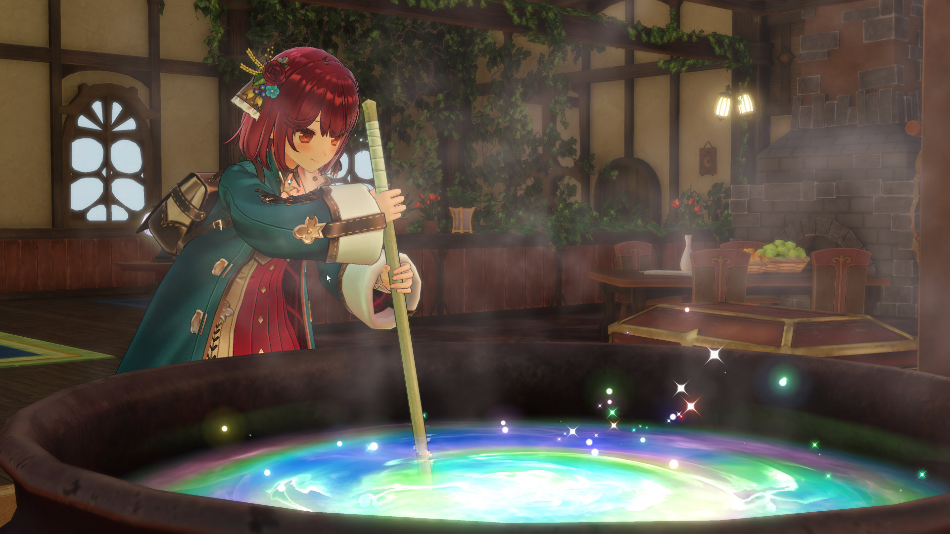 Atelier Sophie 2 screenshot of auburn-haired Sophie brewing something in her large glowing alchemy cauldron.