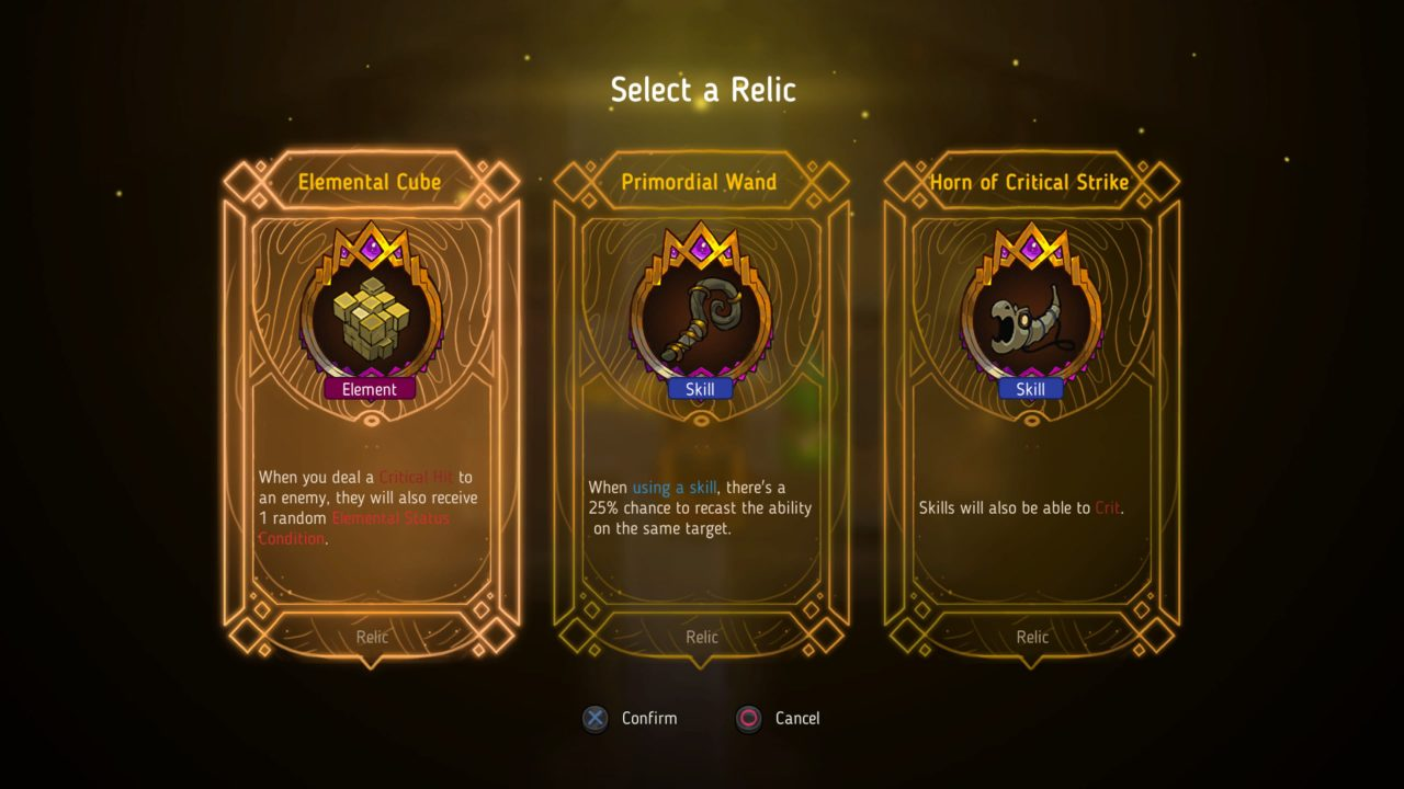 A screen prompting you to select between three different relics in Crown Trick.