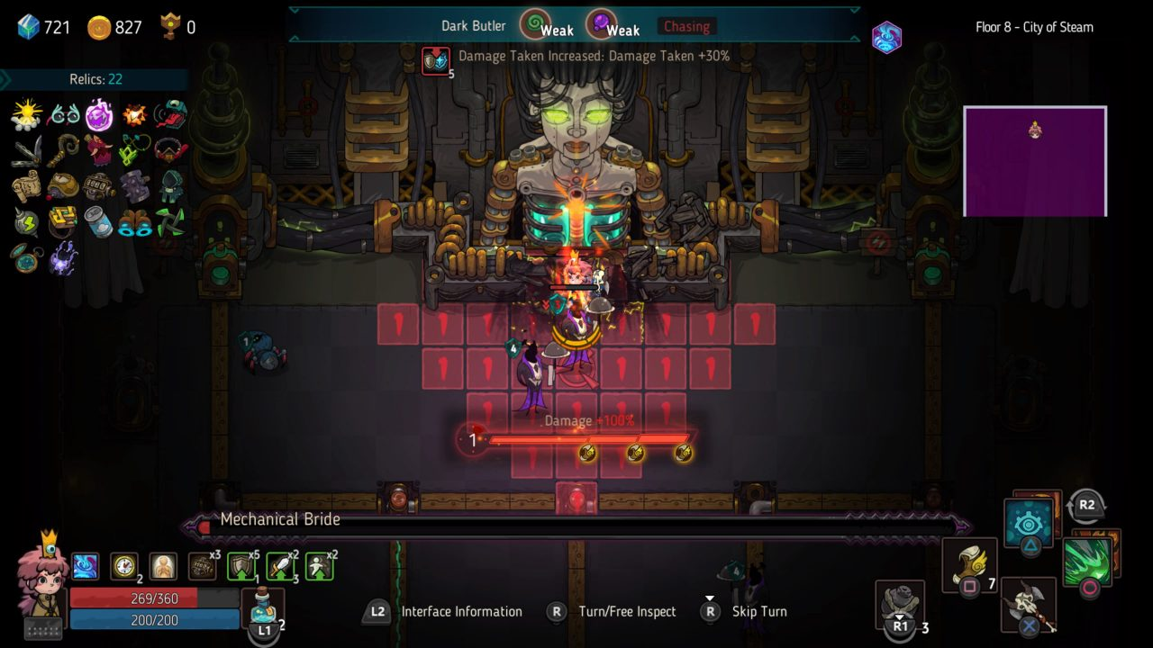 Elle battling a boss and her minions in Crown Trick.