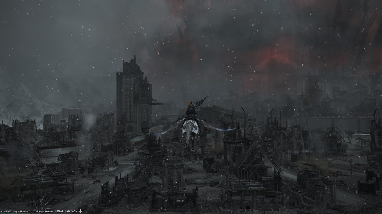 A male Viera Dragoon flying over the burnt-out ruins of Garlemald in Final Fantasy XIV Endwalker