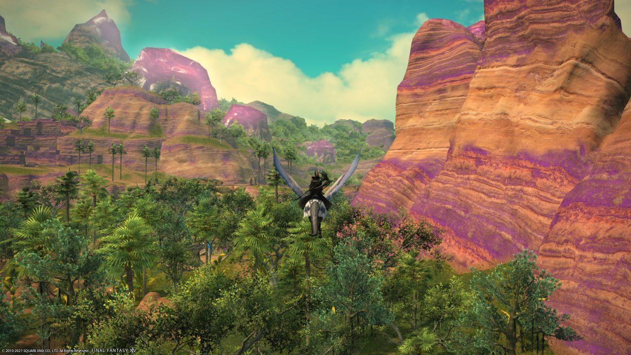 A Warrior of Light flying on a mount around Thavnair in Final Fantasy XIV Endwalker