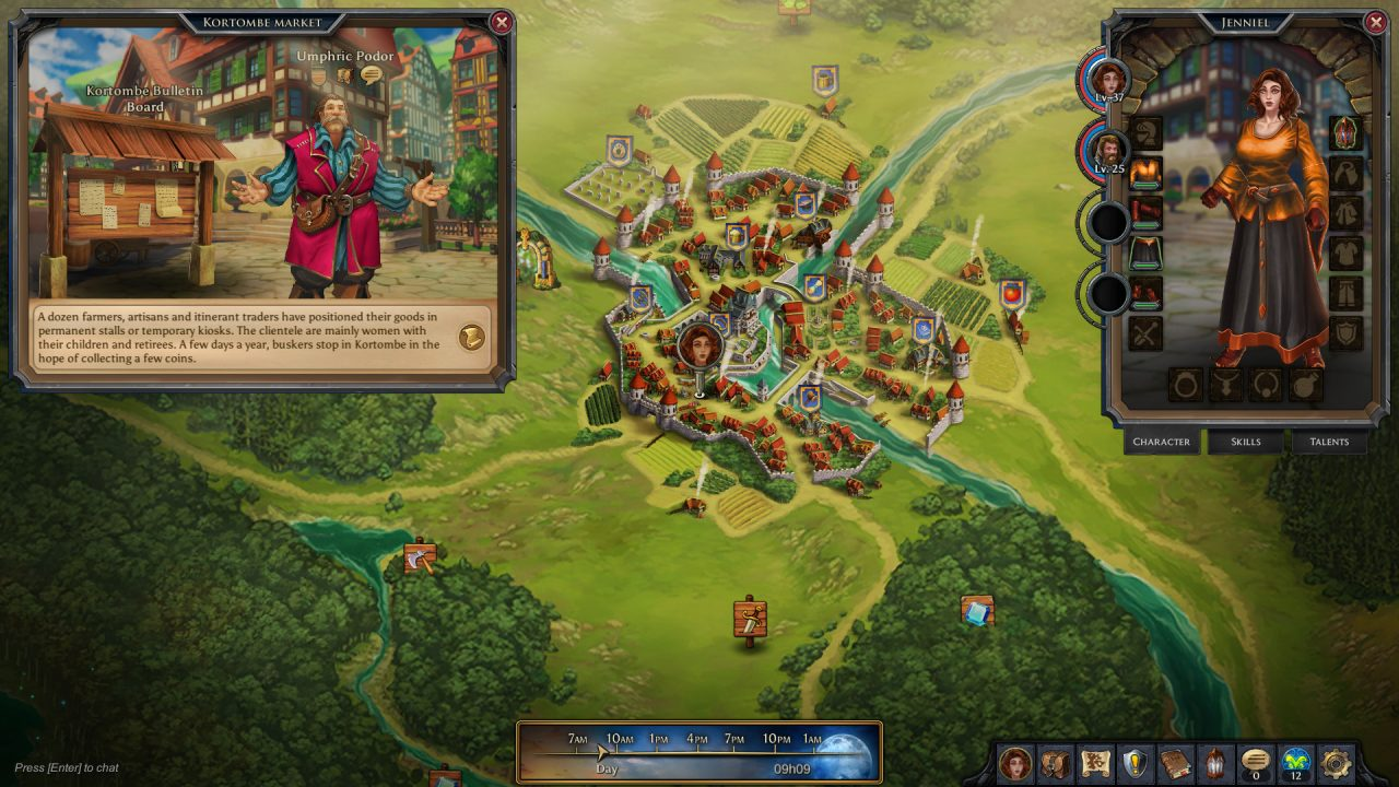 An overview of the world map and a man speaking in Mist Legacy.